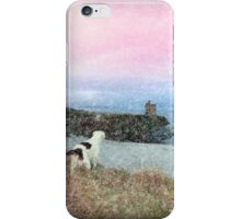 winter beach and castle view with dogs iPhone Case/Skin