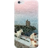 winter beach and castle view with two dogs iPhone Case/Skin