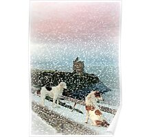winter beach and castle view with two dogs Poster