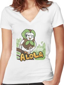 Greetings from Alola ft. Dartrix - Pokémon Sun and Moon Women's Fitted V-Neck T-Shirt