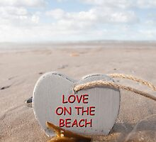wooden love on the beach heart in the golden sand by morrbyte