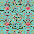 Asian Floral Pattern on Aqua Background by Greenbaby