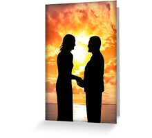 young loving couple holding hands in silhouette Greeting Card