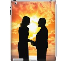 young loving couple holding hands in silhouette iPad Case/Skin