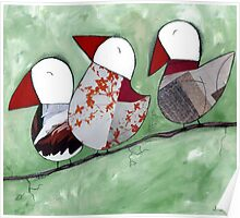 3 Little birds sitting in a tree Poster