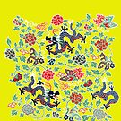 Asian Dragon and Floral Pattern by Greenbaby