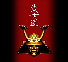 Gold Kabuto (Samurai helmet) iPhone case by Steve Crompton
