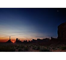 Moon watches sun rise at Totem Pole Photographic Print