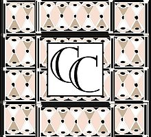 1920s Pink Champagne Deco Monogram (double initials CC) by CecelyBloom