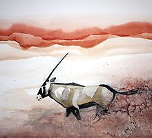 Oryx in flight by Claudia Dingle