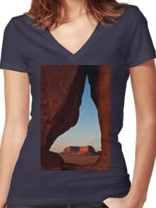 Eagle through Tear Drop Women's Fitted V-Neck T-Shirt