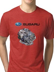 Subaru EJ20-25 Engine + Text Tri-blend T-Shirt