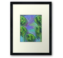 Trippy Psychedelic Melted Smiley Faces Framed Print