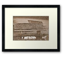 bench on the lake Framed Print