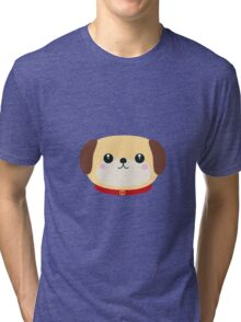 Cute puppy Dog with red collar Tri-blend T-Shirt