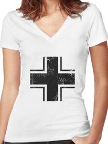Military Roundels - German WWII Balkenkreuz Women's Fitted V-Neck T-Shirt