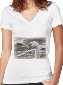 swan on the lake Women's Fitted V-Neck T-Shirt