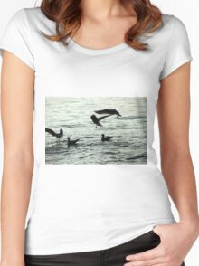 seagull on lake Women's Fitted Scoop T-Shirt