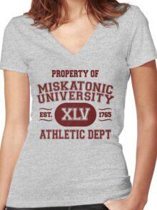 Property of Miskatonic University Athletic Dept Women's Fitted V-Neck T-Shirt