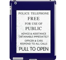 Police Telephone - Free For Public Use iPad Case/Skin