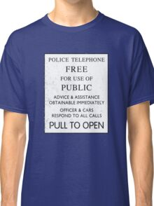 Police Telephone - Free For Public Use Classic T-Shirt