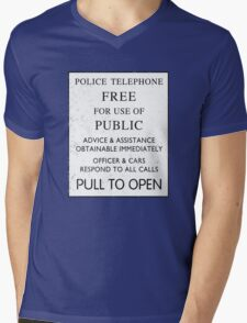 Police Telephone - Free For Public Use Mens V-Neck T-Shirt