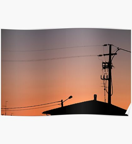 roofs at sunset Poster