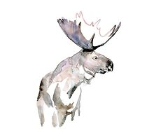 Moose Zen watercolor White by Zendrawing
