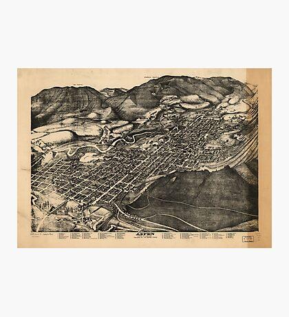 Vintage Pictorial Map of Aspen Colorado (1893) Photographic Print