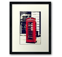 Red British Telephone Booth in London Framed Print