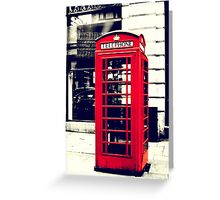 Red British Telephone Booth in London Greeting Card