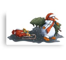 Snowman in scarf Canvas Print