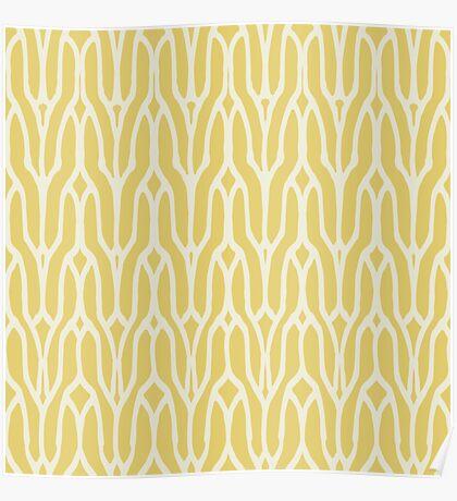 Yellow decorative knit seamless pattern Poster