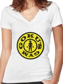 Goku's Gym Women's Fitted V-Neck T-Shirt