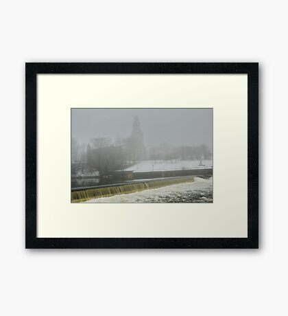 Slater Mill Dam in Winter Framed Print
