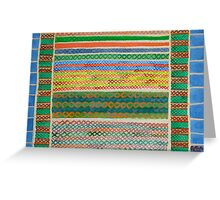 Colorful Stiches on Horizontal Colorful Stripes Greeting Card