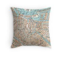 Vintage Map of Amsterdam (1905) Throw Pillow