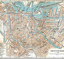 Vintage Map of Amsterdam (1905) by BravuraMedia