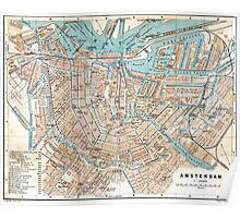Vintage Map of Amsterdam (1905) Poster