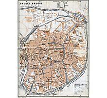 Vintage Map of Bruges (1905)  Photographic Print