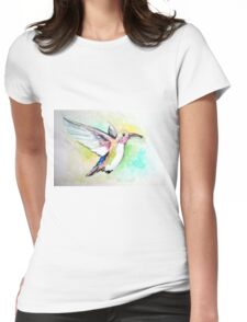 Watercolor of hummingbird Womens Fitted T-Shirt