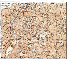 Vintage Map of Brussels (1905) Photographic Print