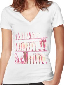 Fashion Print Pink Haze Women's Fitted V-Neck T-Shirt
