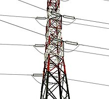 electricity pylon against the sky by spetenfia