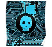 Blue Blurry Skull (Cybergoth) Poster