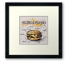 Cheeseburger Illustration with its Ingredients Framed Print