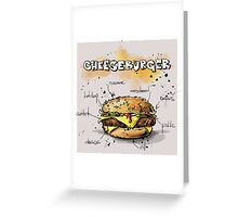 Cheeseburger Illustration with its Ingredients Greeting Card