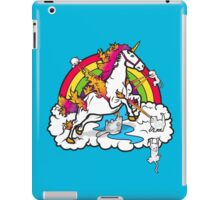 Laser-Shooting, Rainbow-Hugging, Cuteness-Exuding Cats from the Sky (Playing with a Unicorn) iPad Case/Skin