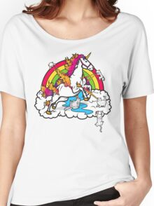 Laser-Shooting, Rainbow-Hugging, Cuteness-Exuding Cats from the Sky (Playing with a Unicorn) Women's Relaxed Fit T-Shirt