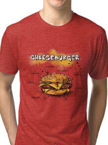 Cheeseburger Illustration with its Ingredients Tri-blend T-Shirt